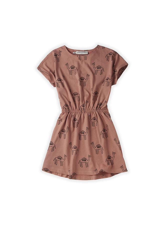 Skater dress - Print camel