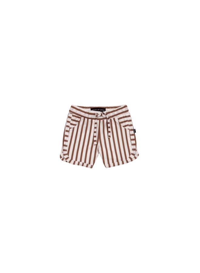 Swim gym short - striped baked clay