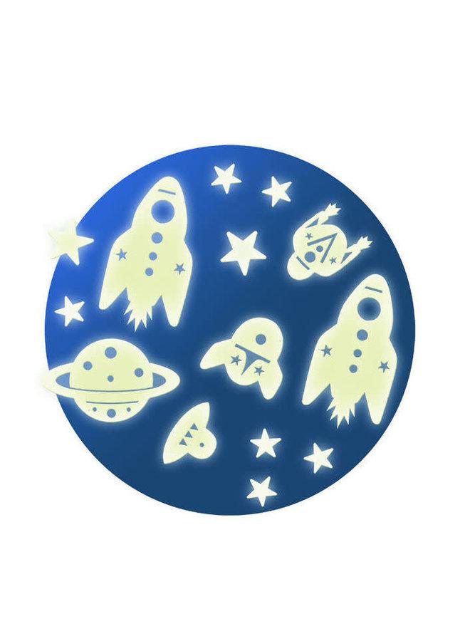 Glow in the dark muurstickers - Mission space