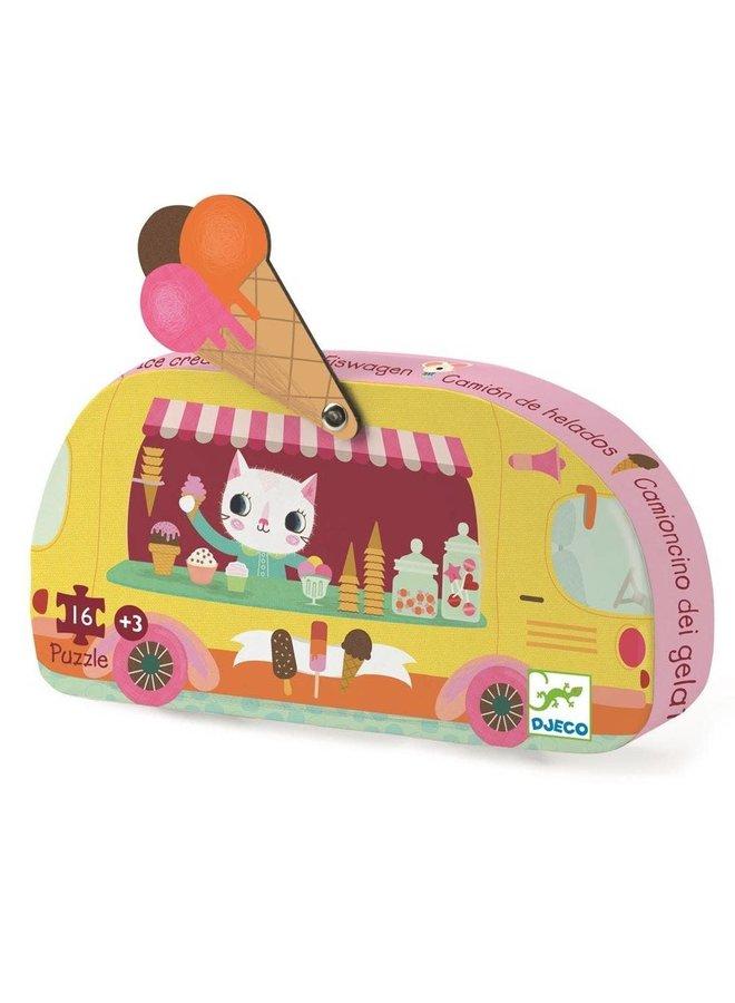Silhouette puzzle - Ice cream truck (16st.)