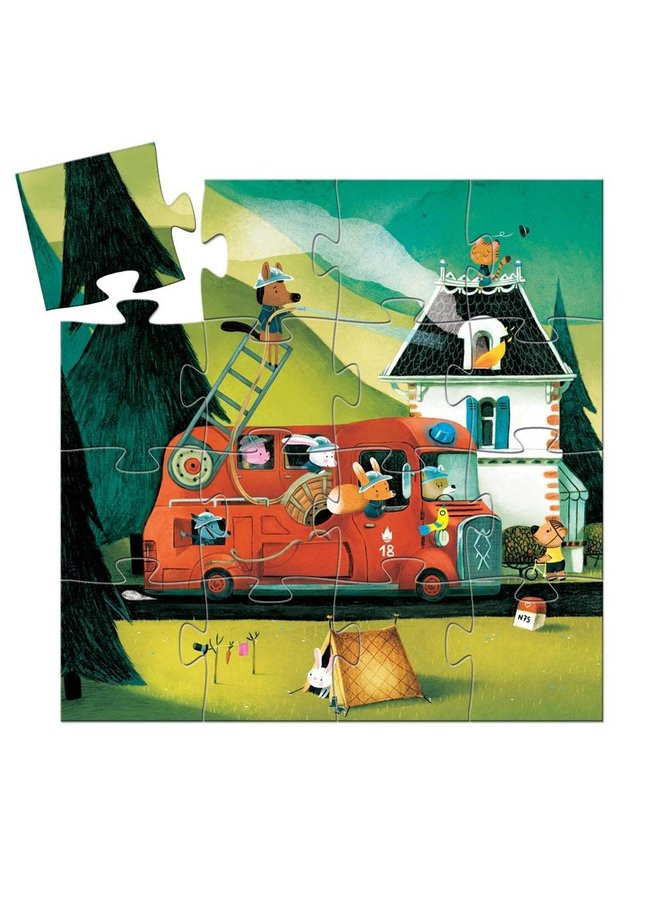 Silhouette puzzle - Fire truck (16st.)