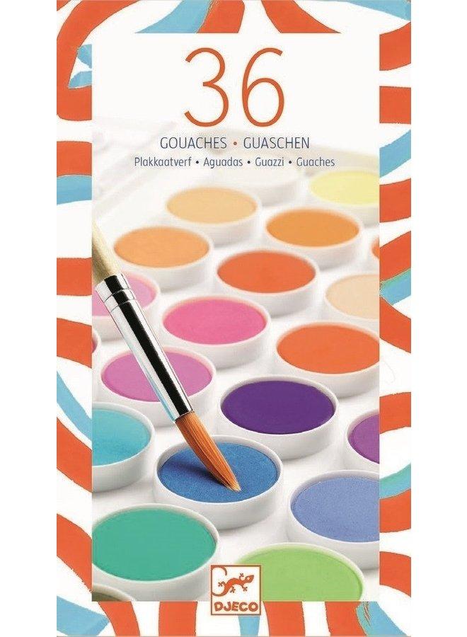 Waterverf - 36 kleuren (incl. penseel)