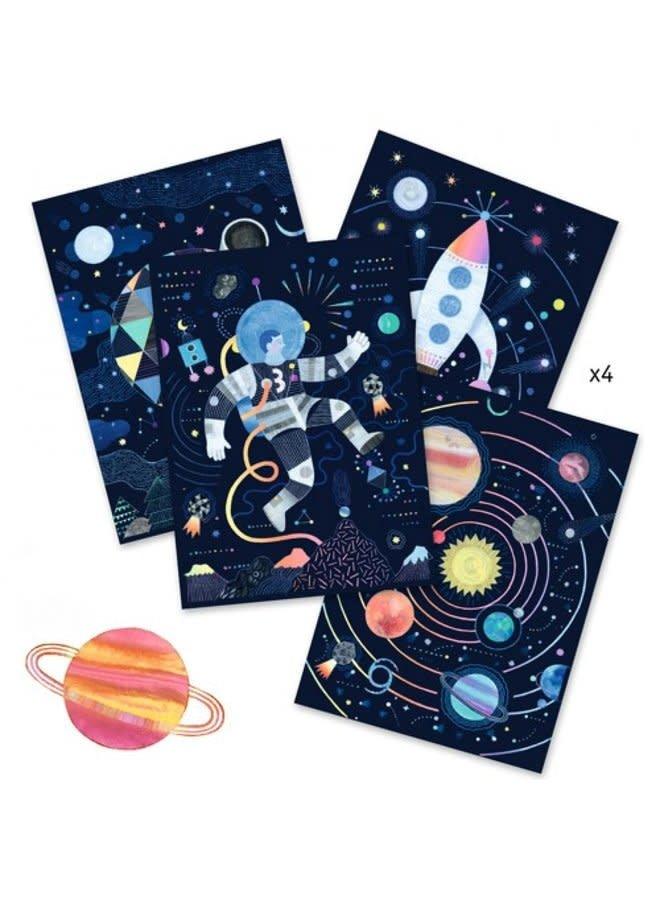 Kraskaarten - In de ruimte