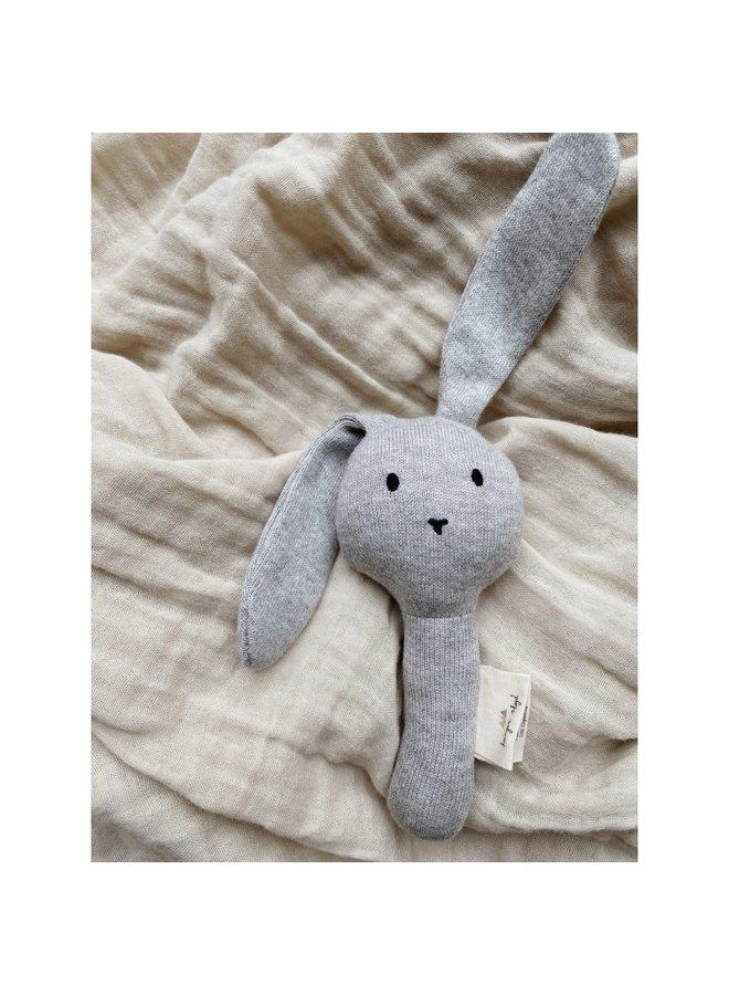 hand rattle bunny - grey