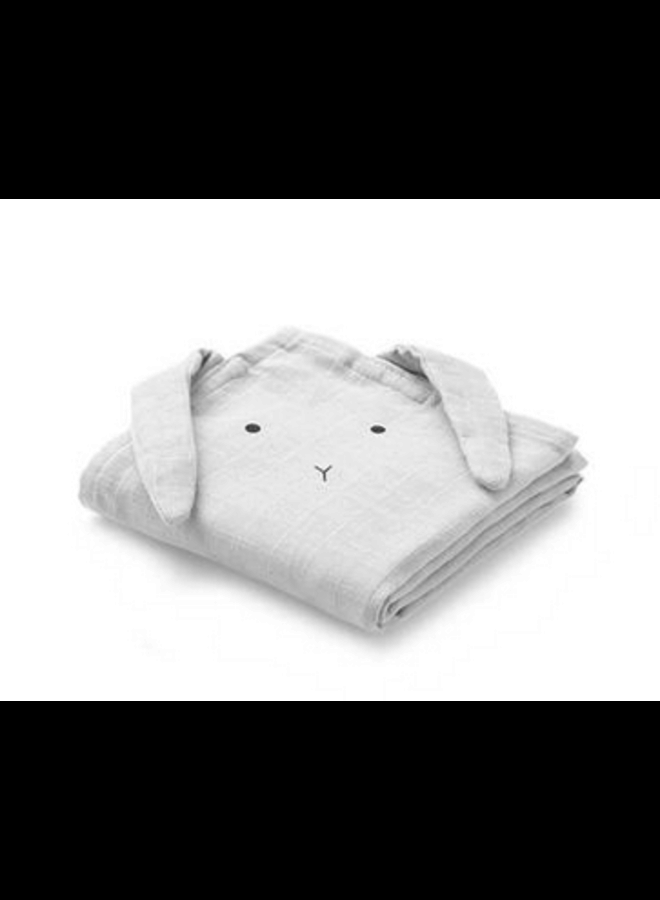 Hannah muslin cloth rabbit - Dumbo grey 2-pack