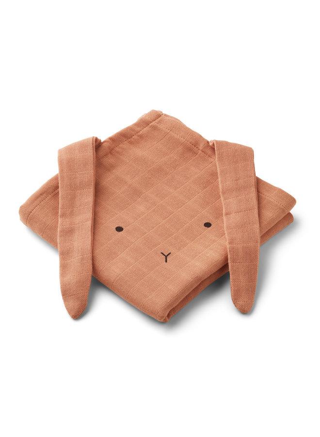 Hannah muslin cloth rabbit - Tuscany rose 2-pack