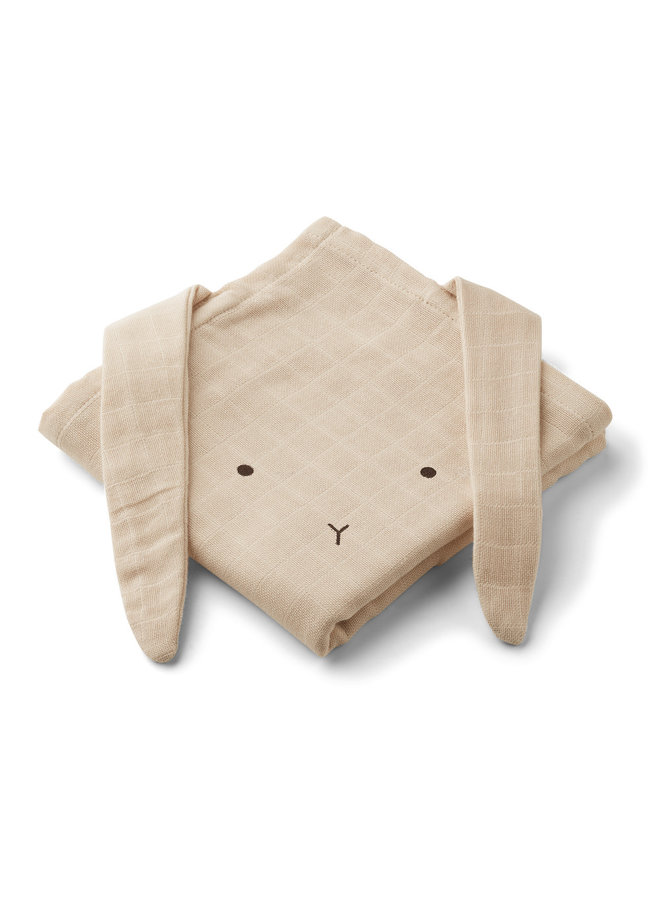 Hannah muslin cloth rabbit - Sandy 2-pack
