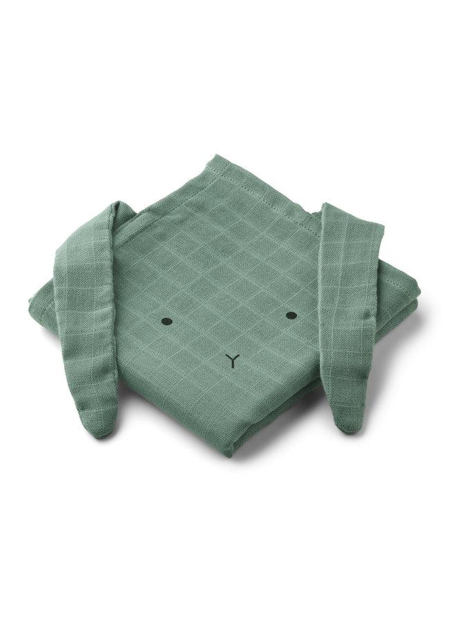 Hannah muslin cloth rabbit - Peppermint 2-pack