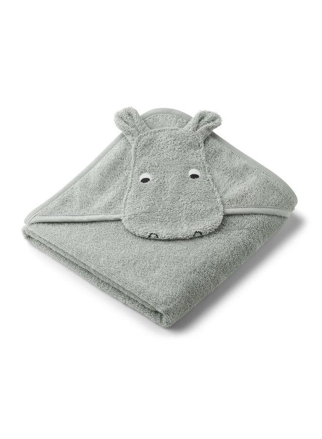 Albert hooded towel - Hippo dove blue