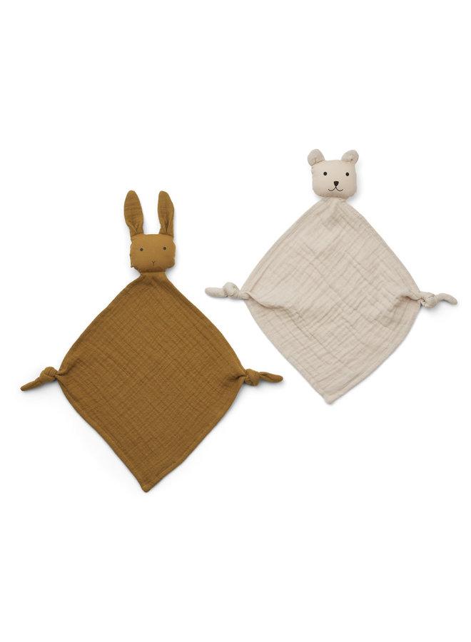 Yoko mini cuddle cloth 2-pack - Sandy rabbit & Beige bear