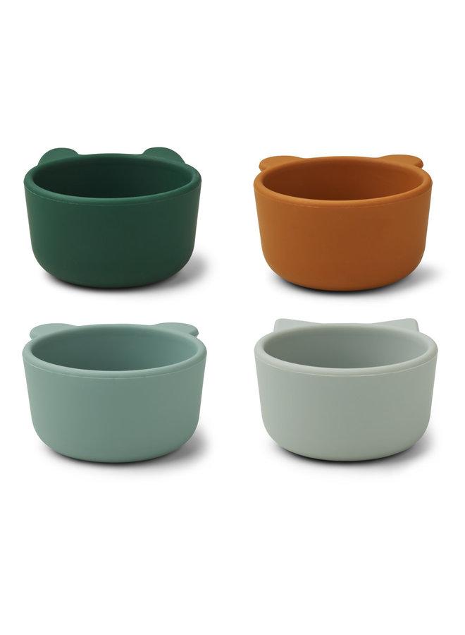 Malenen silicone bowls - Green multi mix