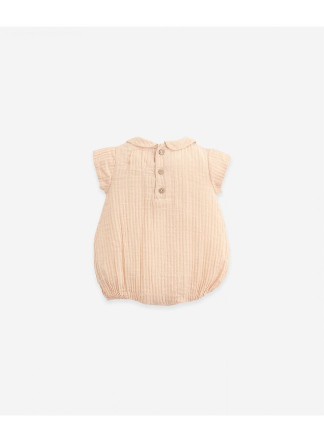 Woven jumpsuit with collar - Egg