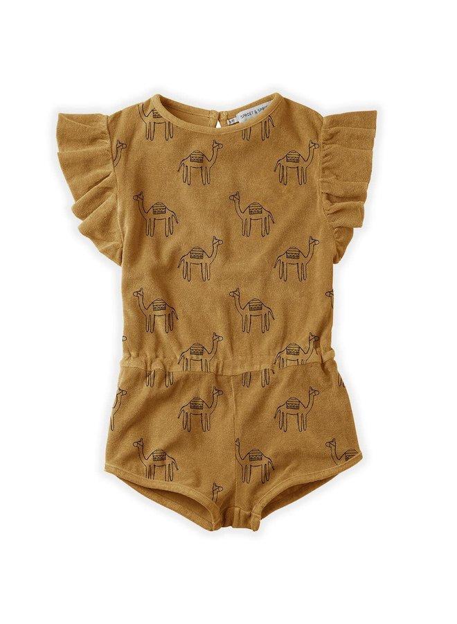 Jumpsuit ruffle camel