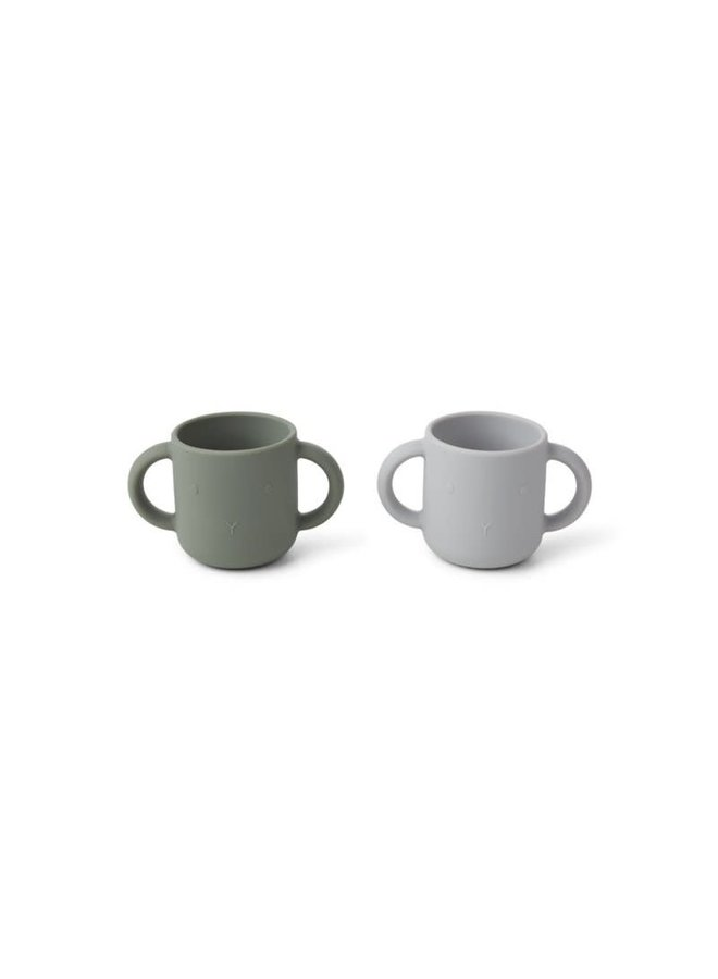 Gene silicone cups 2 pack - Rabbit/faune green