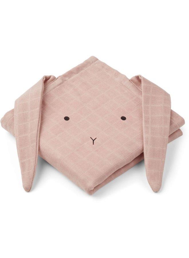 Hannah muslin cloth rabbit - rose 2-pack