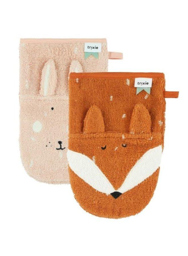 Washandjes 2-pack - Mrs. Rabbit & Mr. Fox