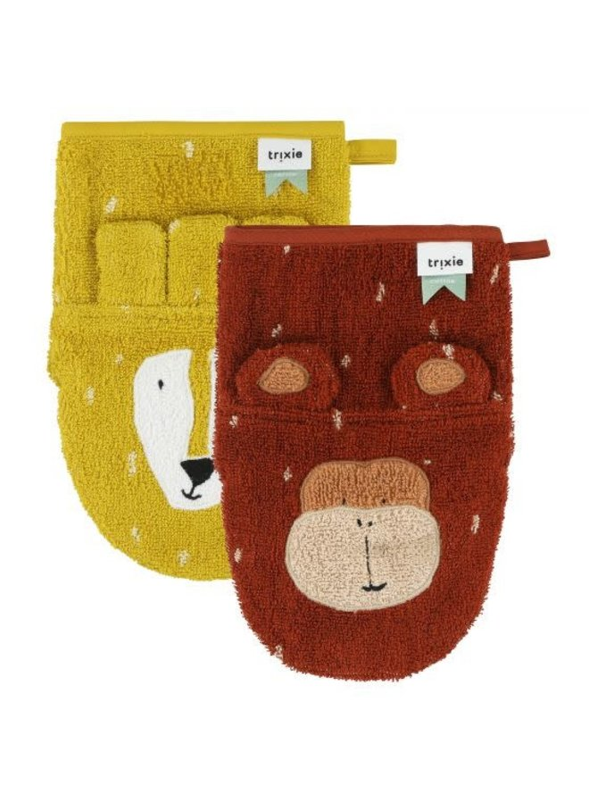 Washandjes 2-pack - Mr. Lion & Mr. Monkey