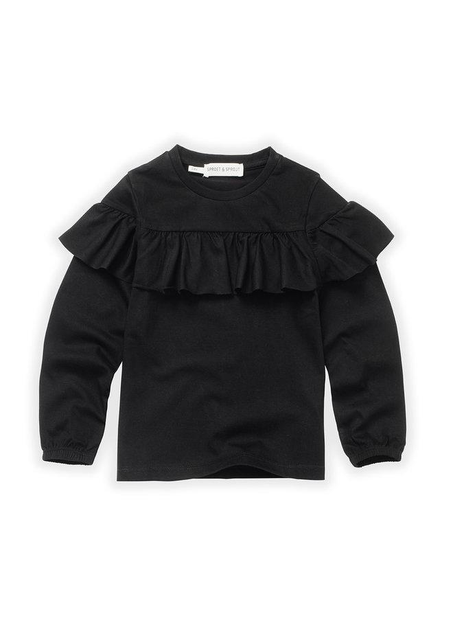 T-shirt - Ruffle black - Black