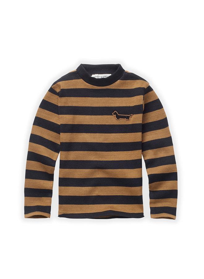 T-shirt - Turtleneck stripe - Mustard/Black