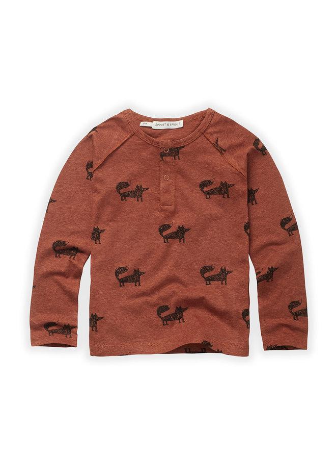 Grandad T-shirt - Fox print - Auburn
