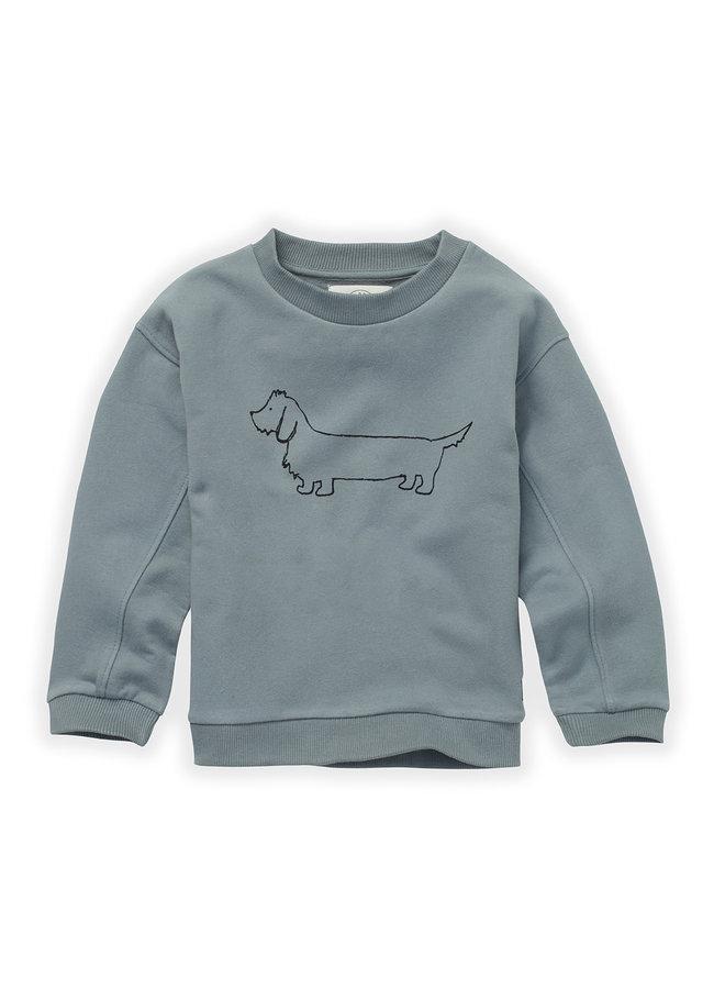 Sweatshirt - Sausage dog - Lake blue