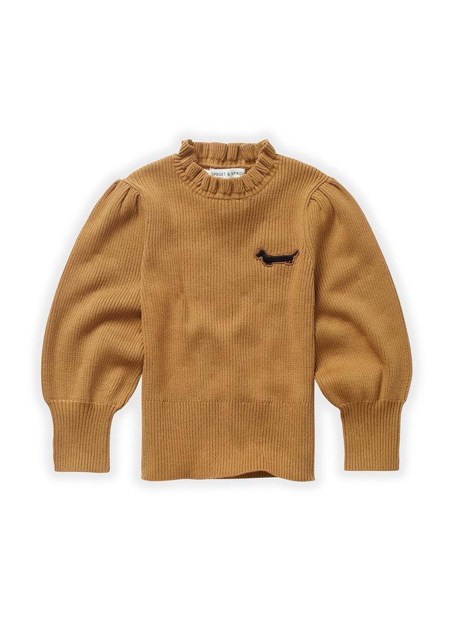 Sweater - Turtleneck ruffle - Mustard