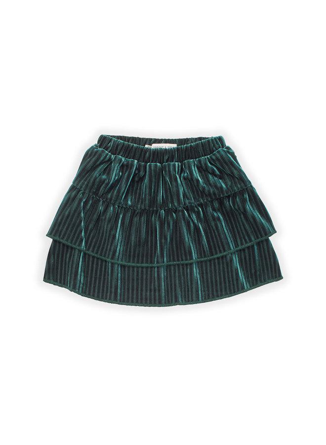 Skirt - Velvet Pleats - Pine green