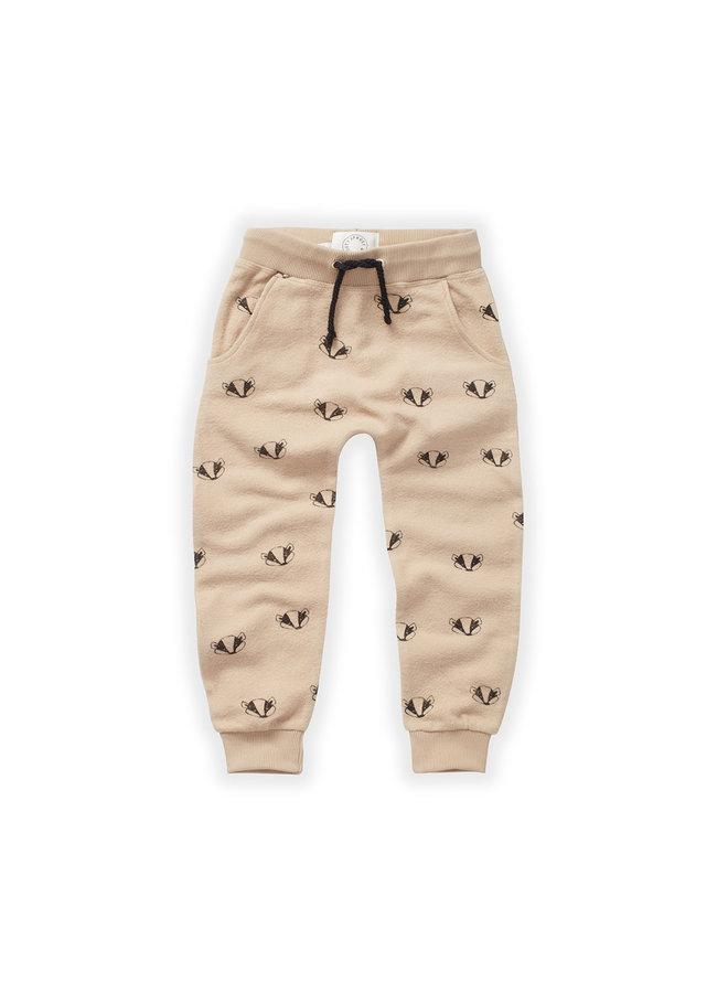 Brushed pants - Badger print - Nougat