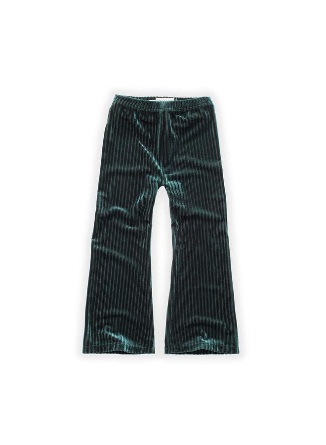 Flared Legging - Velvet Pleats - Pine green