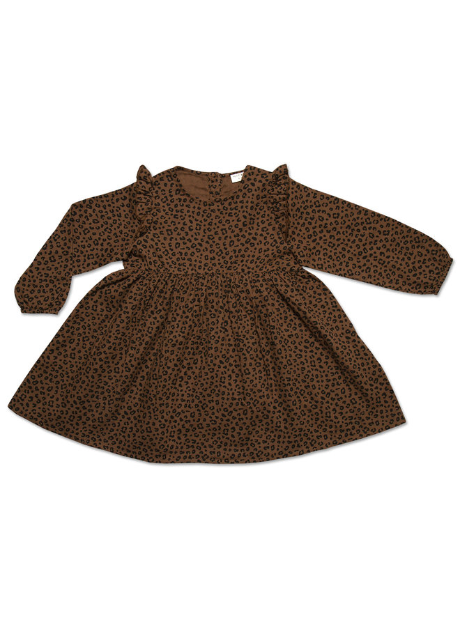 Julie ruffle dress - Brown leopard