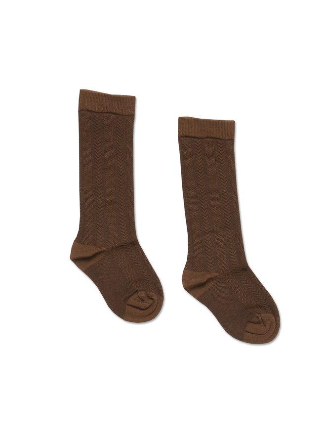 Knee socks - Embroidery Brown