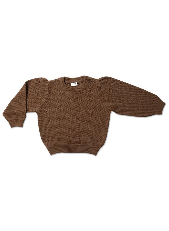 Knit jumper ballon sleeve - Chocolat