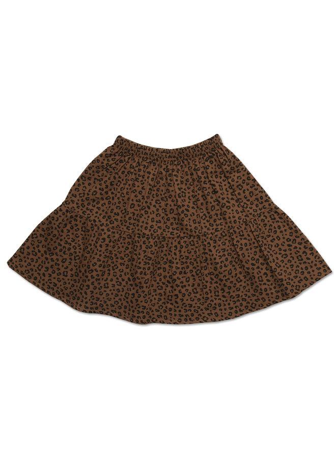 Midi lewis frill skirt - Brown leopard