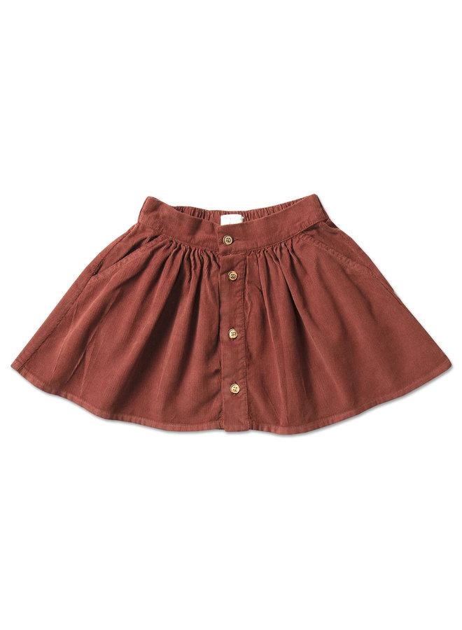 Mini button skirt - Burnt henna