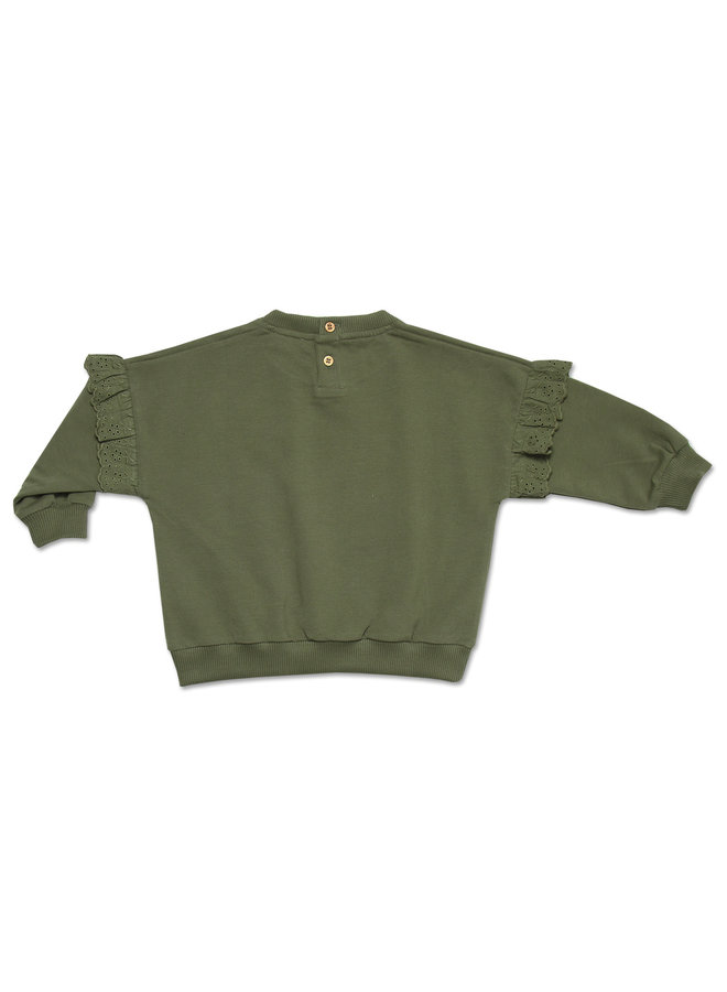 Sweater ruffle embroidery - Misty green