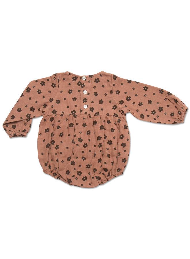 Teddie playsuit - Brown floral