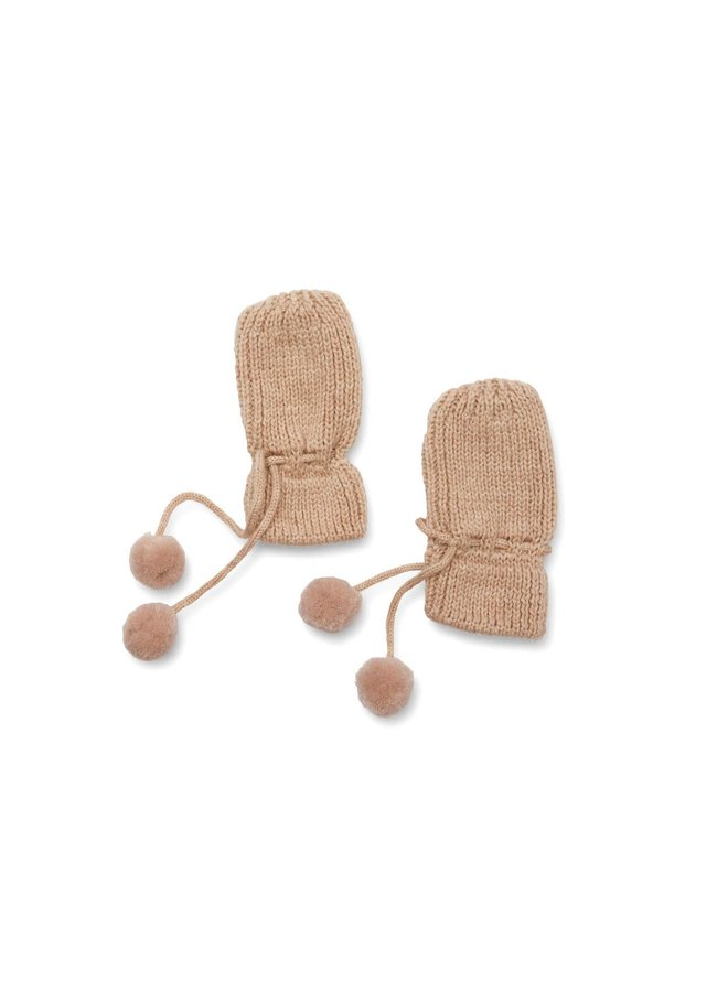 Miro knit mittens - White cream melange