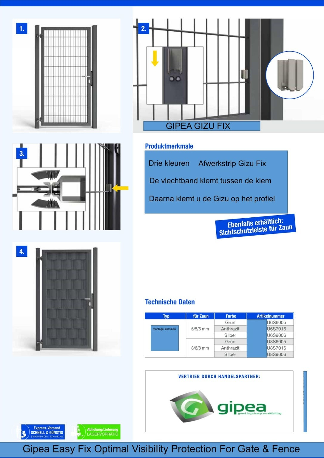 Gipea Easy To Fix Optimal Visibility Protection For Gate & Fence 9  banen ekoband van 85 cm tot 105 cm + Master Fix Afwerk Profielen  180 cm