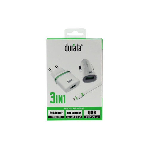 Durata  3/1 AC Adapter Car Charger USB Data Cable DR-A3002