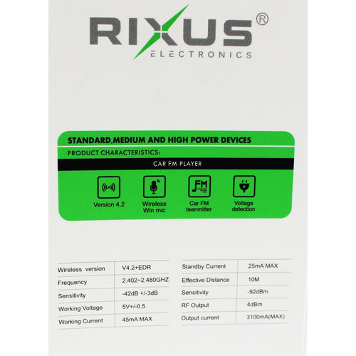 Rixus  Bluetooth Car FM Player RX-BT20