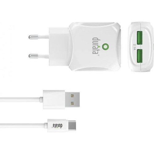 Durata  Dual Charger 2.1A + Type C USB cable White - (DR-55C)