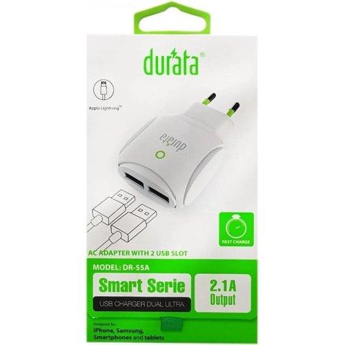 Durata Dubbele oplader 2.1A + USB-kabel type C Wit - (DR-55C)