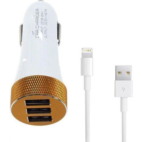 Durata  Car Charger 2/1 3USB Slot 5.1A Micro USB -White - DR-C503