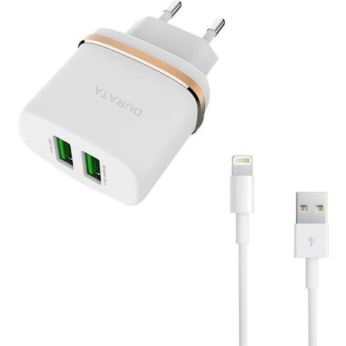 Durata AC Adapter Dual USB 2.4A Voor iPad 2,3 & iPhone - Wit (DR-AC521)