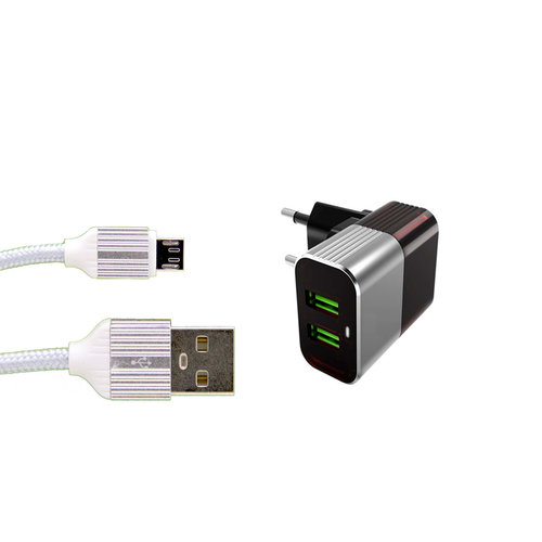 Durata Wisselstroomadapter Reisoplader 2USB 2.4A - (DR-44)