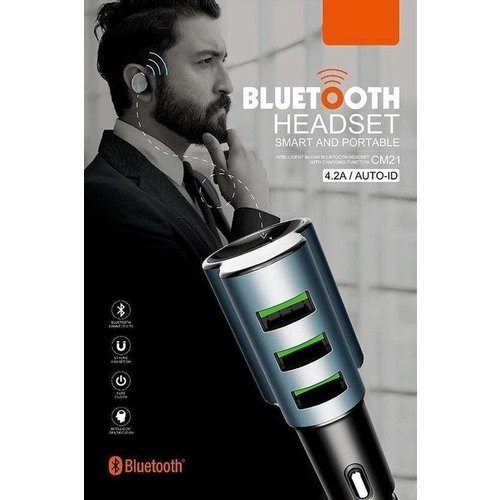 Durata  Car Charger and Bluetooth Headset With 3 USB Slots DR-BO1