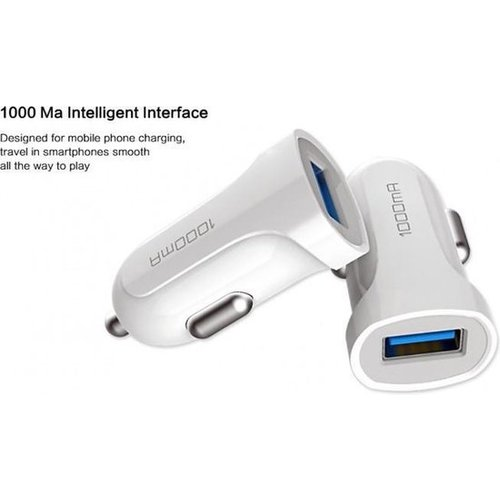 Durata  Car Charger With 1USB Slot White DR-C25