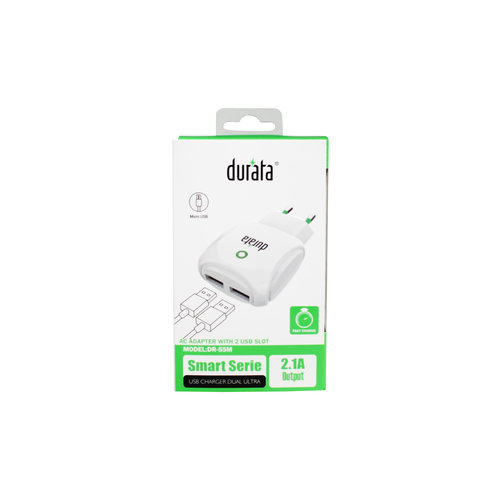 Durata  AC Adapter With 2 USB Slot 2.1A - Micro USB - White DR-55M