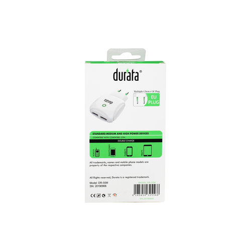 Durata AC adapter met 2 USB-sleuven 2.1A - Micro USB - Wit DR-55M