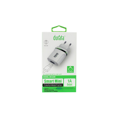 Durata Adapter met Micro USB Datakabel DR-65M Wit